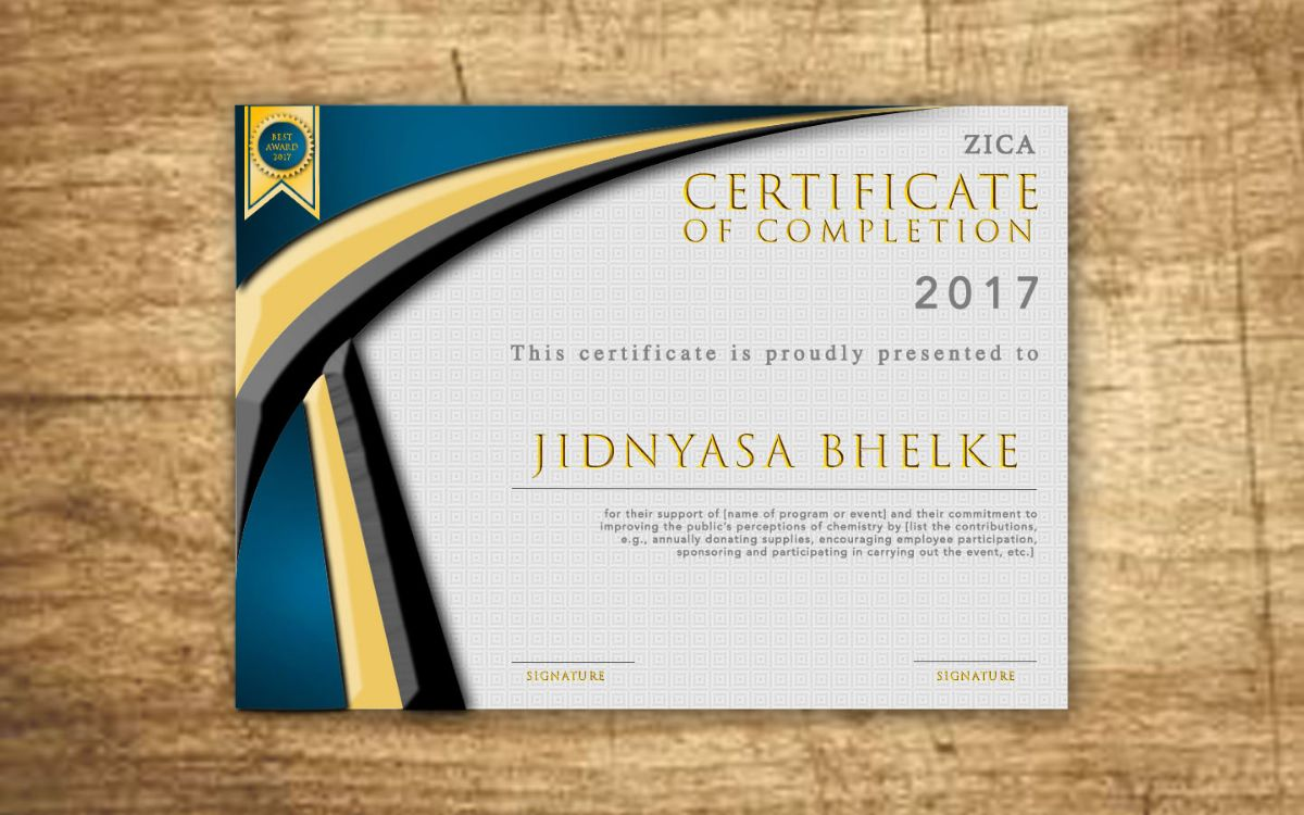 ZICA Pune - CERTIFICATE OF COMPLETION