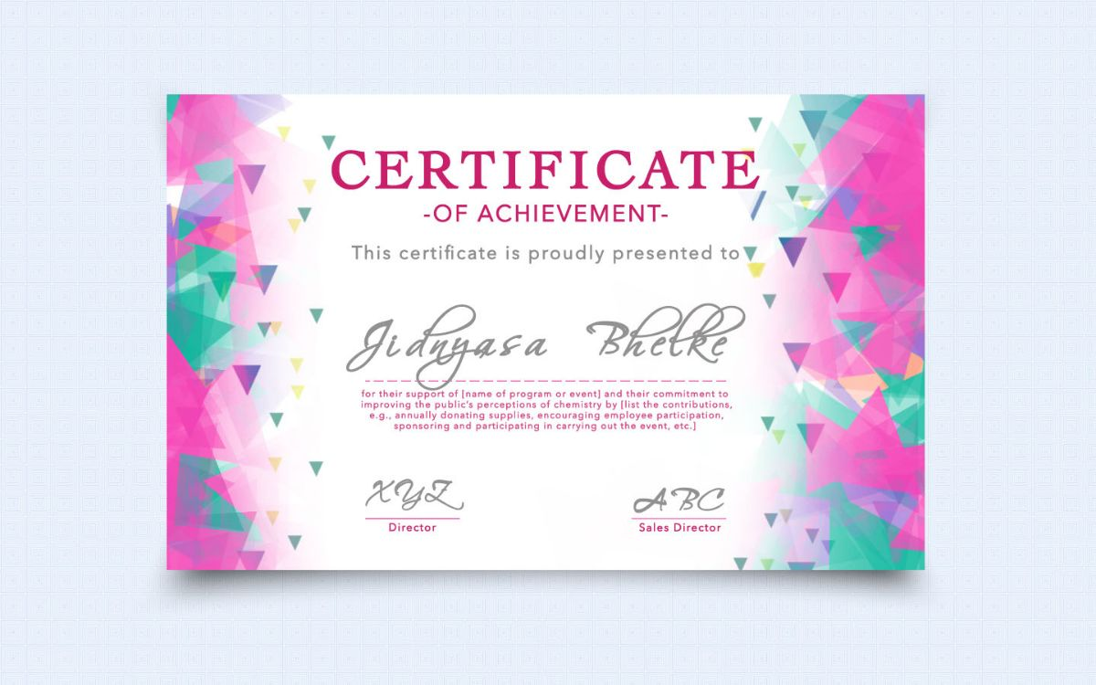 ZICA Pune - CERTIFICATE OF ACHEIVEMENT